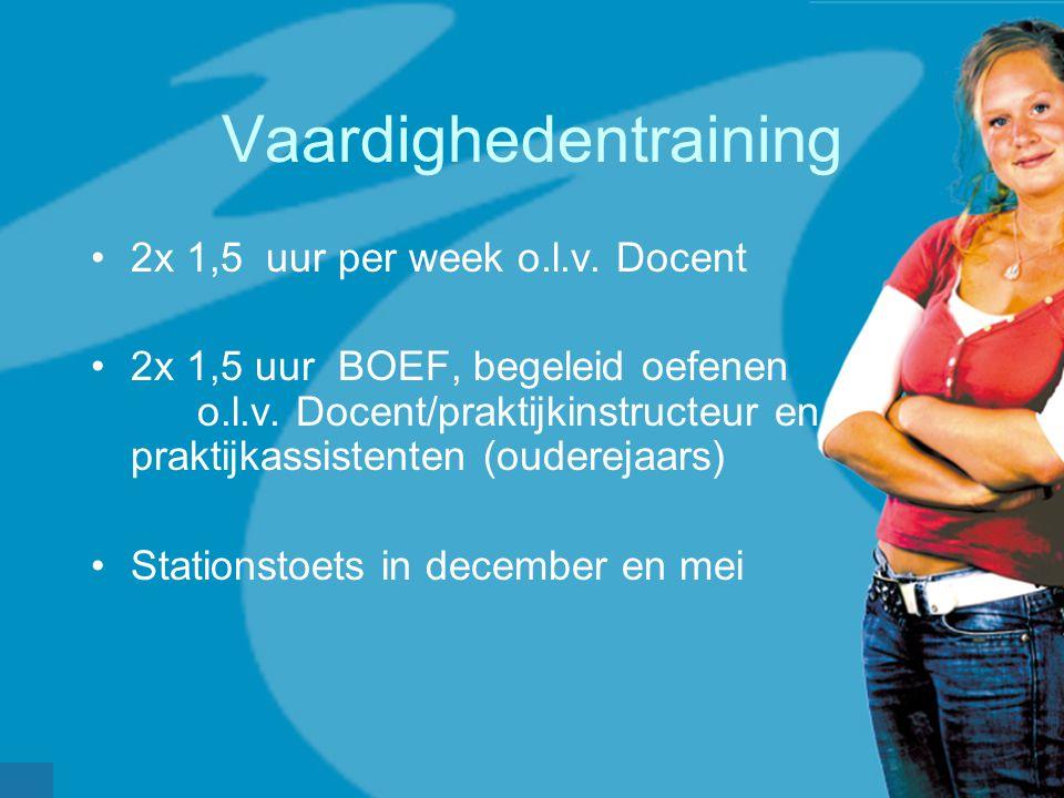 Vaardighedentraining •2x 1,5 uur per week o.l.v. Docent •2x 1,5 uur BOEF, begeleid oefenen o.l.v. Docent/praktijkinstructeur en praktijkassistenten (o