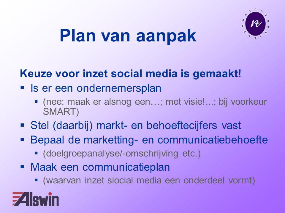Plan van aanpak Keuze voor inzet social media is gemaakt!  Is er een ondernemersplan  (nee: maak er alsnog een…; met visie!...; bij voorkeur SMART)