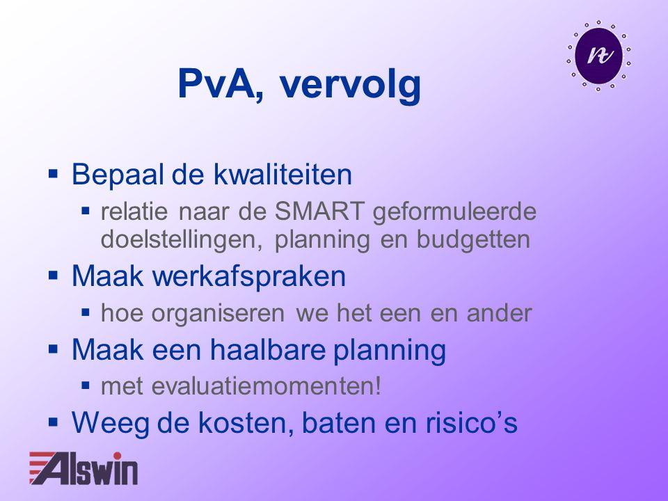 PvA, vervolg  Bepaal de kwaliteiten  relatie naar de SMART geformuleerde doelstellingen, planning en budgetten  Maak werkafspraken  hoe organiseren we het een en ander  Maak een haalbare planning  met evaluatiemomenten.