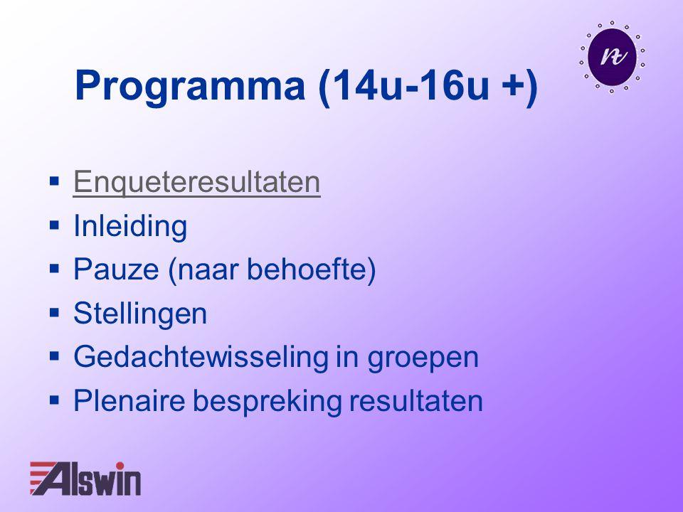 Programma (14u-16u +)  Enqueteresultaten Enqueteresultaten  Inleiding  Pauze (naar behoefte)  Stellingen  Gedachtewisseling in groepen  Plenaire