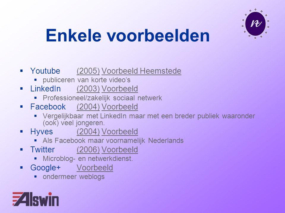 Enkele voorbeelden  Youtube (2005) Voorbeeld Heemstede(2005)Voorbeeld Heemstede  publiceren van korte video's  LinkedIn (2003) Voorbeeld(2003)Voorb