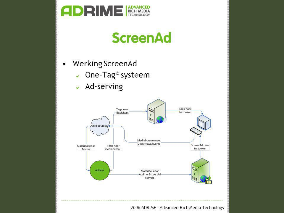 2006 ADRIME – Advanced Rich Media Technology ScreenAd •Werking ScreenAd One-Tag © systeem Ad-serving