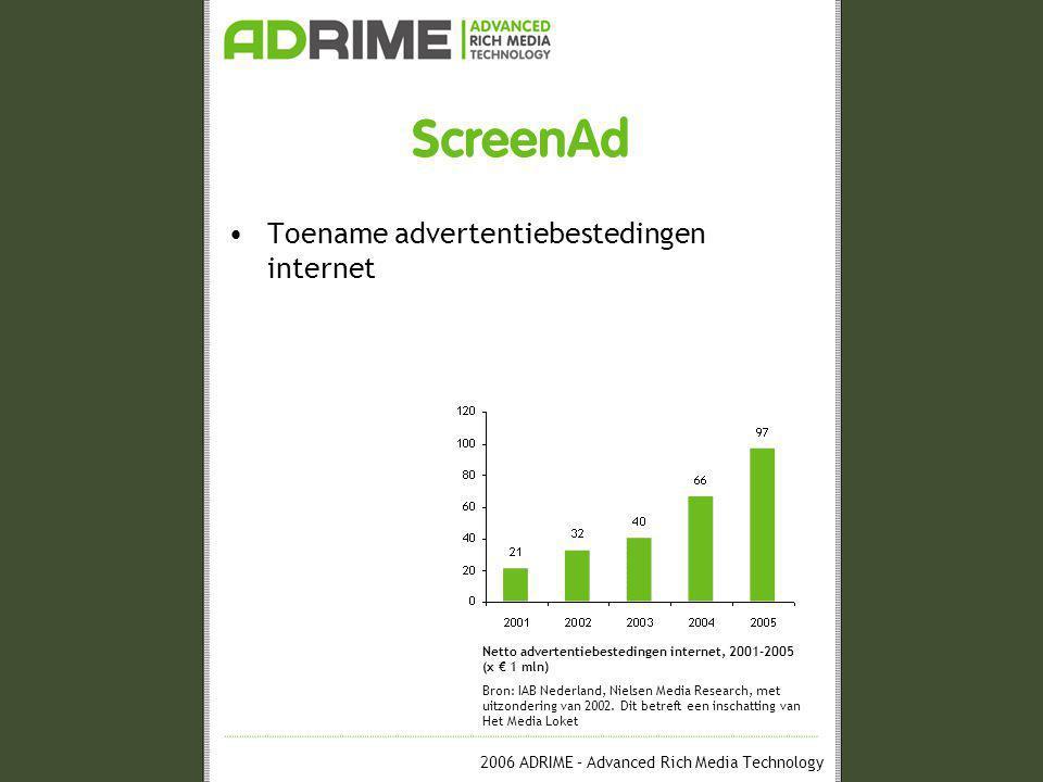 2006 ADRIME – Advanced Rich Media Technology ScreenAd •Onbeperkte creatieve mogelijkheden DemoLayerAd inclusief interactie van Fantastic Four