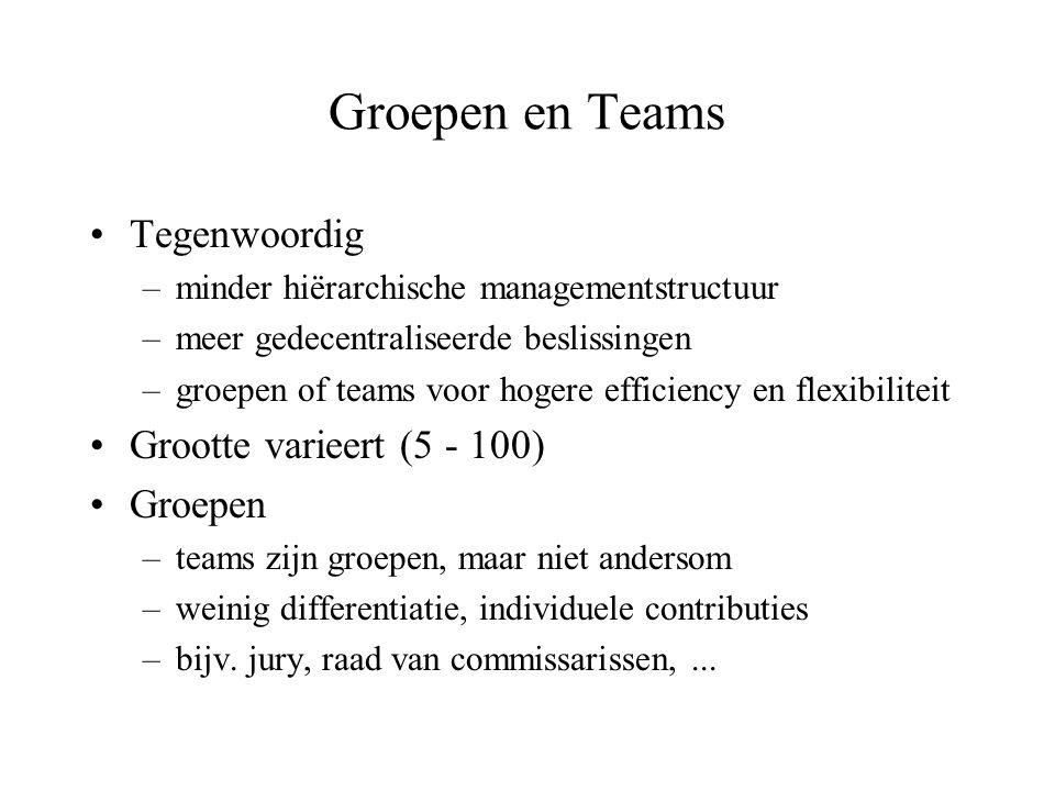 Groepen en Teams •Tegenwoordig –minder hiërarchische managementstructuur –meer gedecentraliseerde beslissingen –groepen of teams voor hogere efficienc