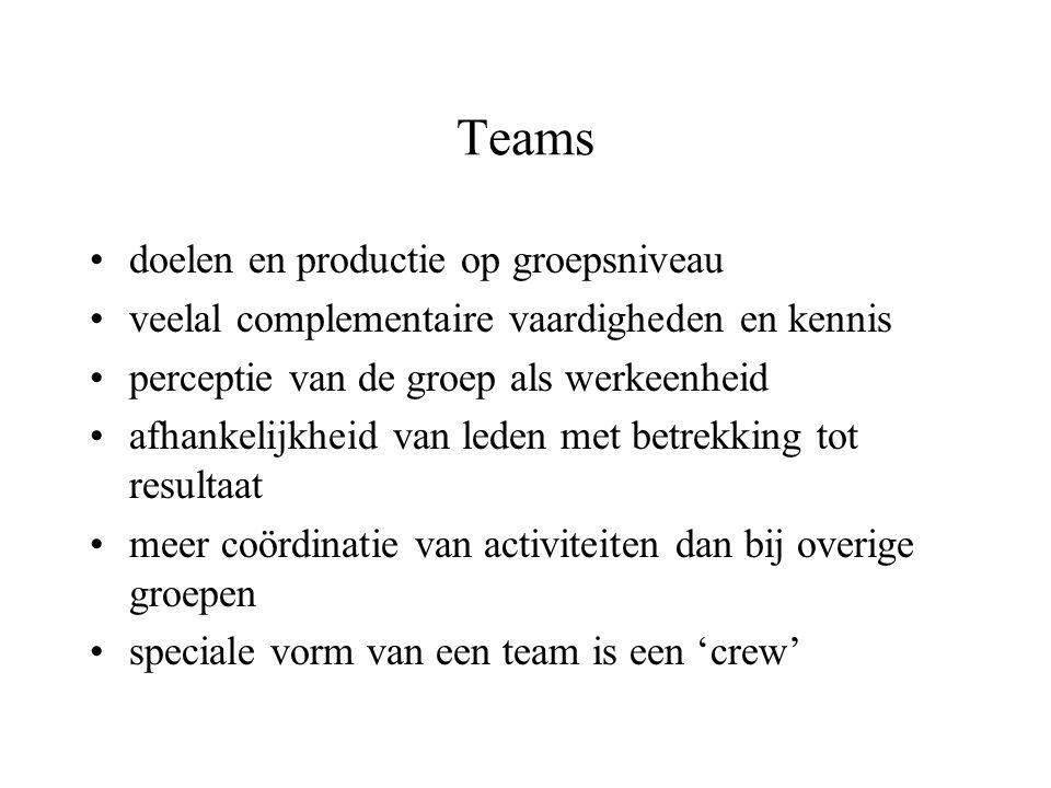 Teams •doelen en productie op groepsniveau •veelal complementaire vaardigheden en kennis •perceptie van de groep als werkeenheid •afhankelijkheid van