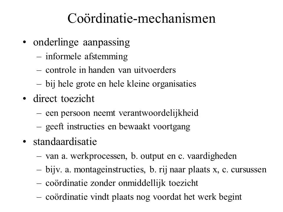 Coördinatie-mechanismen •onderlinge aanpassing –informele afstemming –controle in handen van uitvoerders –bij hele grote en hele kleine organisaties •