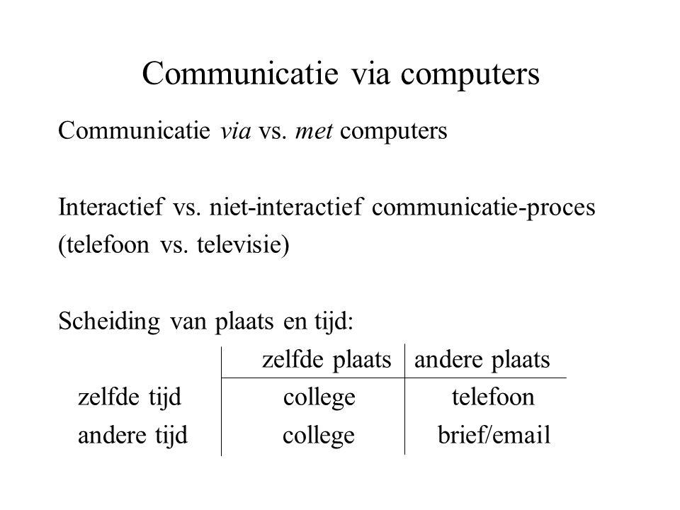 Communicatie via computers Communicatie via vs. met computers Interactief vs. niet-interactief communicatie-proces (telefoon vs. televisie) Scheiding