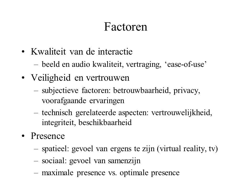 Factoren •Kwaliteit van de interactie –beeld en audio kwaliteit, vertraging, 'ease-of-use' •Veiligheid en vertrouwen –subjectieve factoren: betrouwbaa