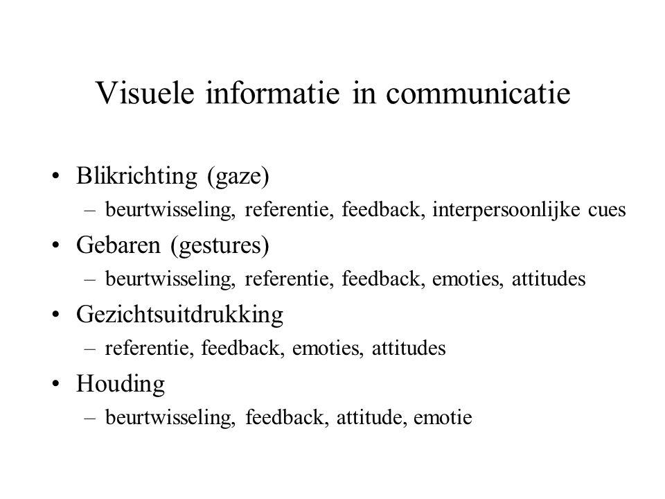Visuele informatie in communicatie •Blikrichting (gaze) –beurtwisseling, referentie, feedback, interpersoonlijke cues •Gebaren (gestures) –beurtwissel
