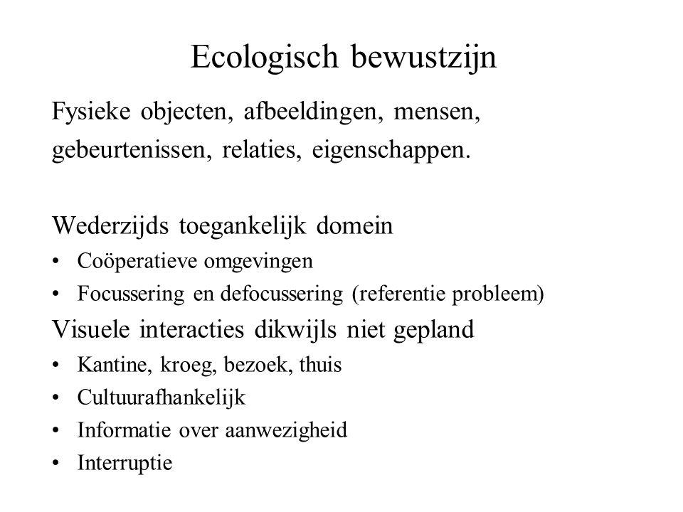 Ecologisch bewustzijn Fysieke objecten, afbeeldingen, mensen, gebeurtenissen, relaties, eigenschappen. Wederzijds toegankelijk domein •Coöperatieve om