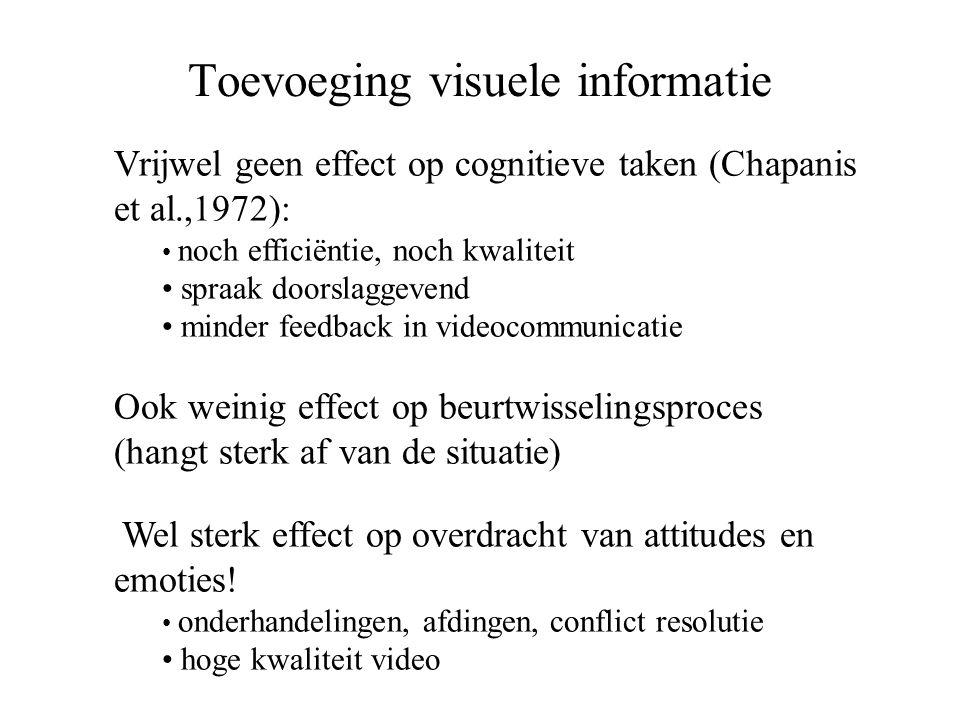 Toevoeging visuele informatie Vrijwel geen effect op cognitieve taken (Chapanis et al.,1972): • noch efficiëntie, noch kwaliteit • spraak doorslaggeve