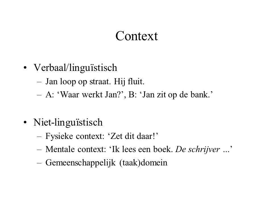 Context •Verbaal/linguïstisch –Jan loop op straat. Hij fluit. –A: 'Waar werkt Jan?', B: 'Jan zit op de bank.' •Niet-linguïstisch –Fysieke context: 'Ze
