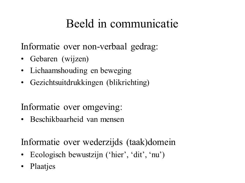 Beeld in communicatie Informatie over non-verbaal gedrag: •Gebaren (wijzen) •Lichaamshouding en beweging •Gezichtsuitdrukkingen (blikrichting) Informa