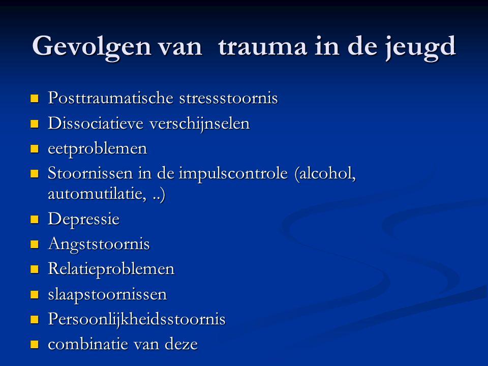 Gevolgen van trauma in de jeugd  Posttraumatische stressstoornis  Dissociatieve verschijnselen  eetproblemen  Stoornissen in de impulscontrole (al