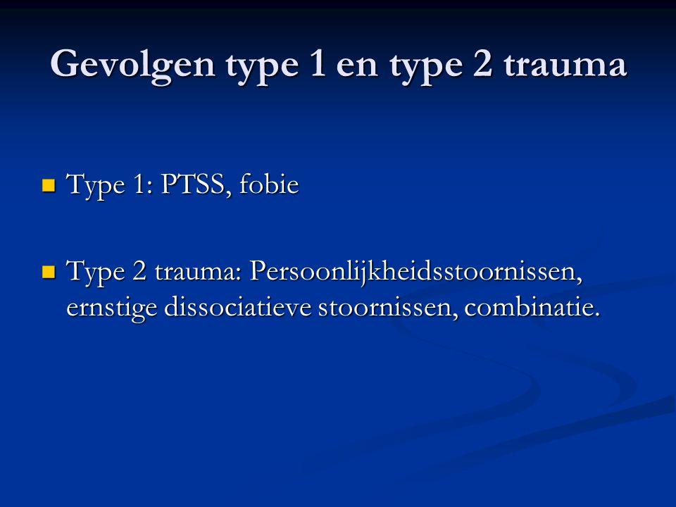 Gevolgen type 1 en type 2 trauma  Type 1: PTSS, fobie  Type 2 trauma: Persoonlijkheidsstoornissen, ernstige dissociatieve stoornissen, combinatie.