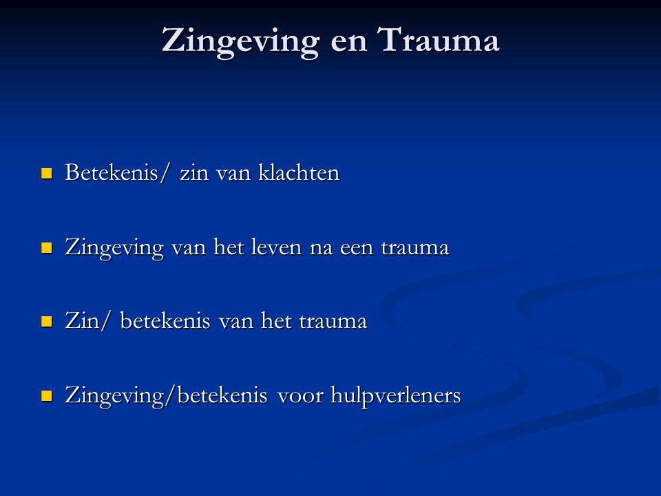 Zingeving en Trauma  Betekenis/ zin van klachten  Zingeving van het leven na een trauma  Zin/ betekenis van het trauma  Zingeving/betekenis voor h