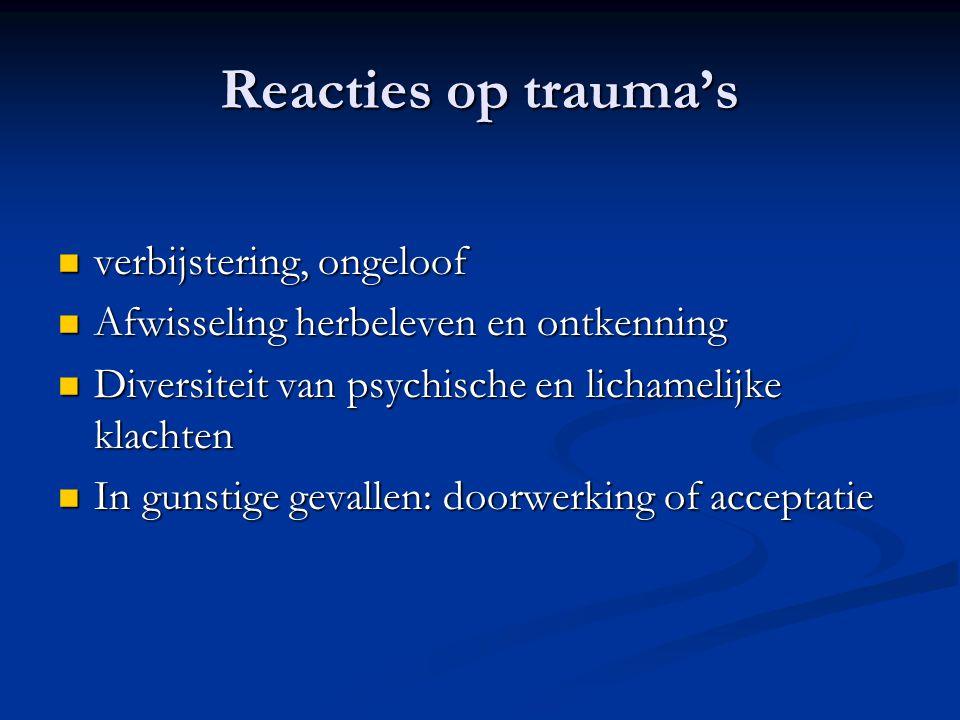 Reacties op trauma's  verbijstering, ongeloof  Afwisseling herbeleven en ontkenning  Diversiteit van psychische en lichamelijke klachten  In gunst