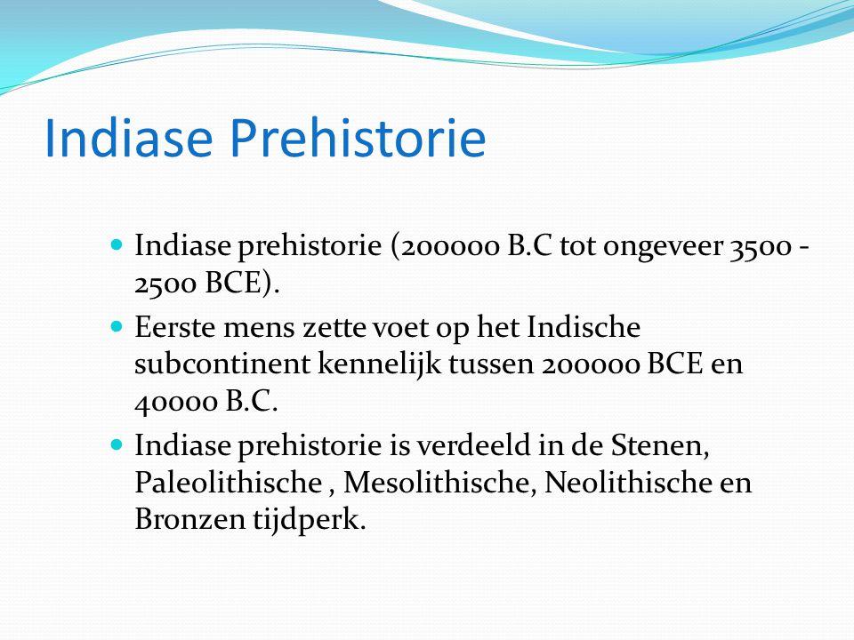 Indiase Prehistorie  Indiase prehistorie (200000 B.C tot ongeveer 3500 - 2500 BCE).  Eerste mens zette voet op het Indische subcontinent kennelijk t