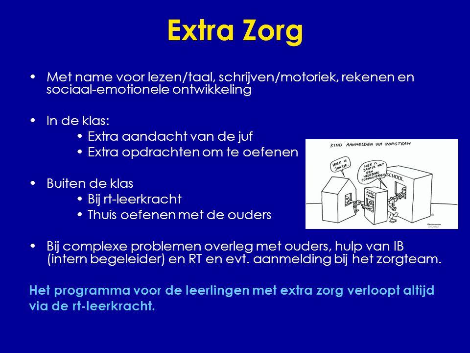 Extra Zorg •Met name voor lezen/taal, schrijven/motoriek, rekenen en sociaal-emotionele ontwikkeling •In de klas: •Extra aandacht van de juf •Extra op