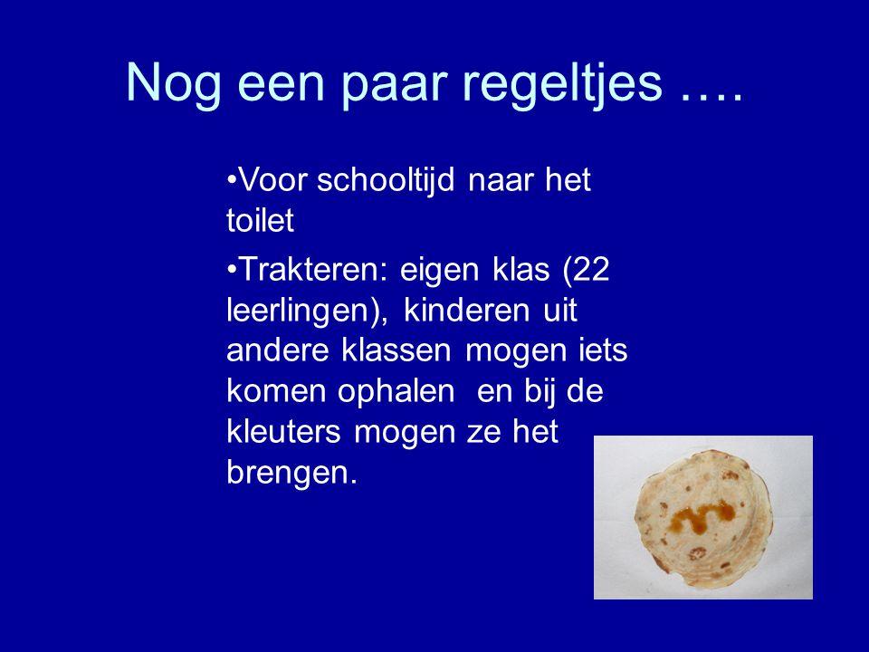 •Voor schooltijd naar het toilet •Trakteren: eigen klas (22 leerlingen), kinderen uit andere klassen mogen iets komen ophalen en bij de kleuters mogen
