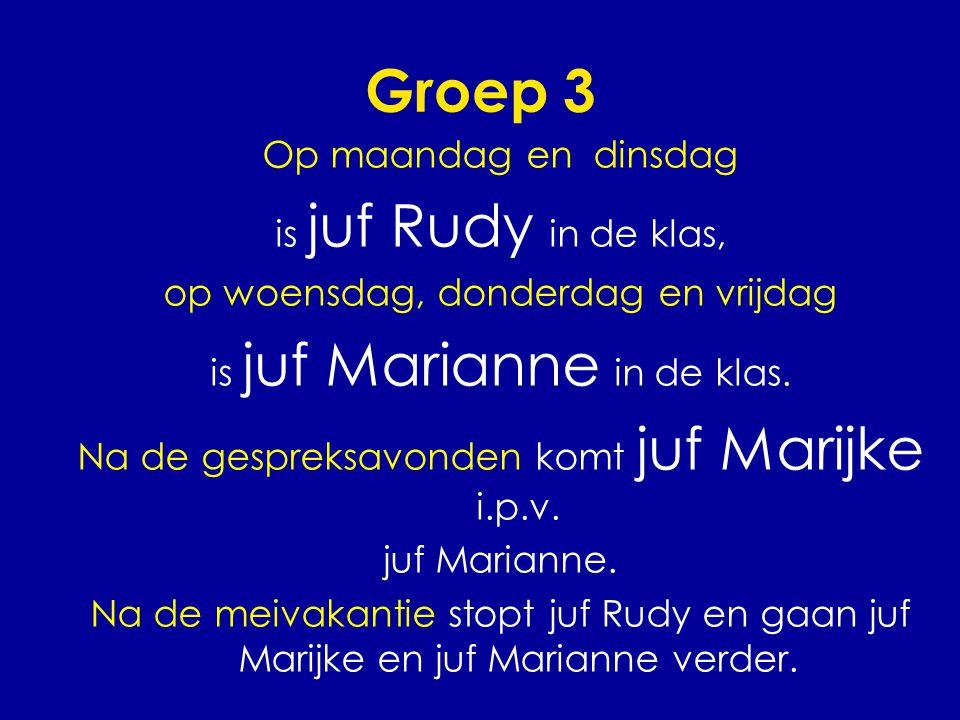 Groep 3 Op maandag en dinsdag is juf Rudy in de klas, op woensdag, donderdag en vrijdag is juf Marianne in de klas. Na de gespreksavonden komt juf Mar