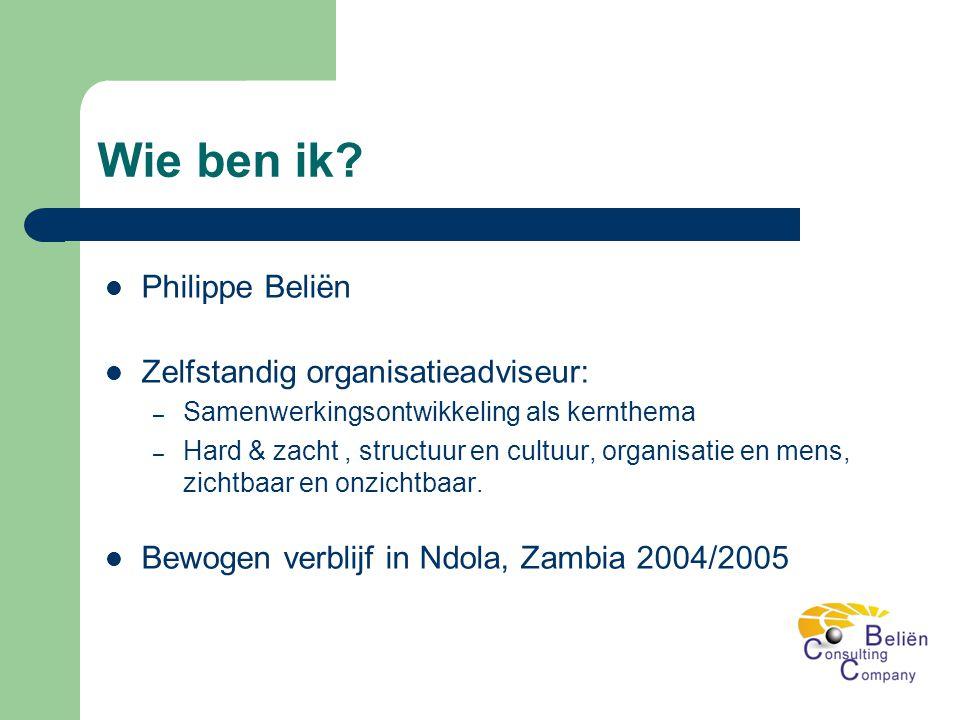 Wie ben ik?  Philippe Beliën  Zelfstandig organisatieadviseur: – Samenwerkingsontwikkeling als kernthema – Hard & zacht, structuur en cultuur, organ