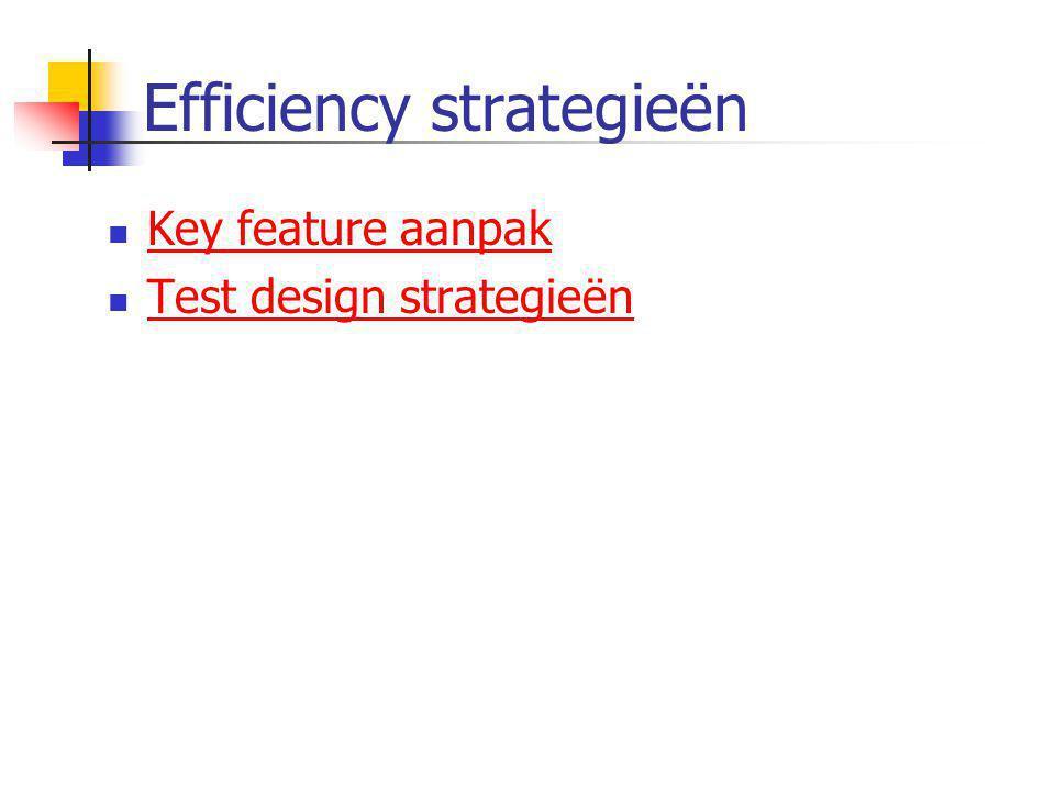 Efficiency strategieën  Key feature aanpak Key feature aanpak  Test design strategieën Test design strategieën