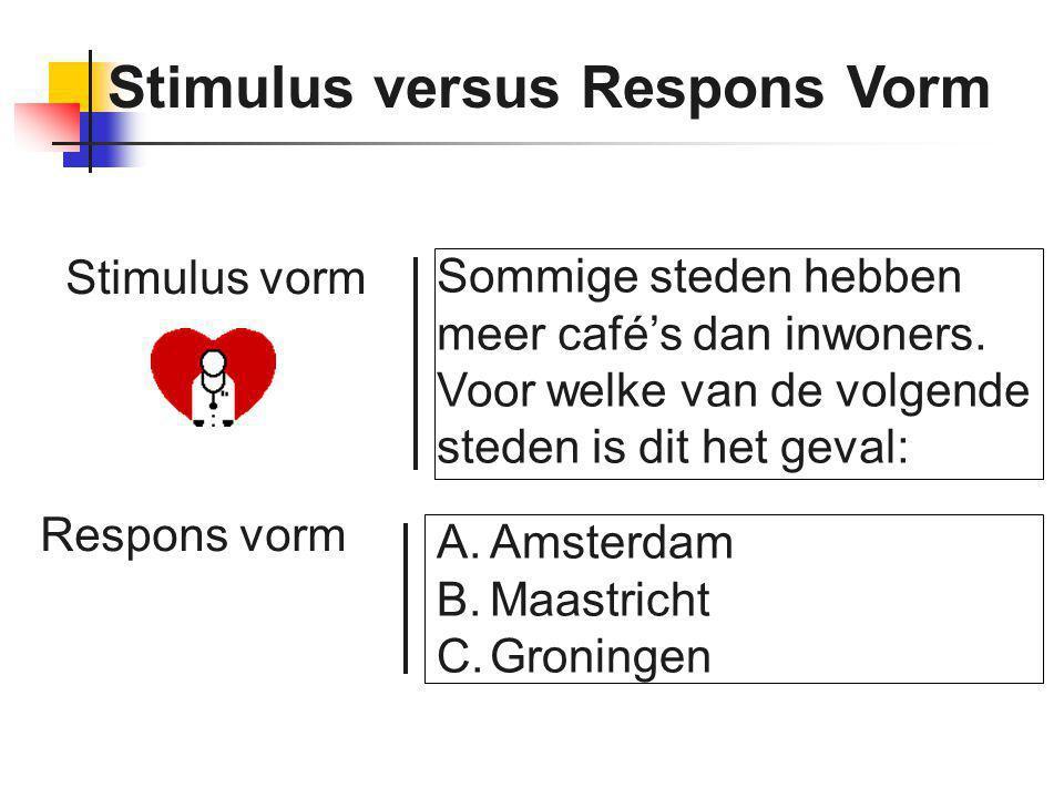 Stimulus versus Respons Vorm Sommige steden hebben meer café's dan inwoners. Voor welke van de volgende steden is dit het geval: A.Amsterdam B.Maastri