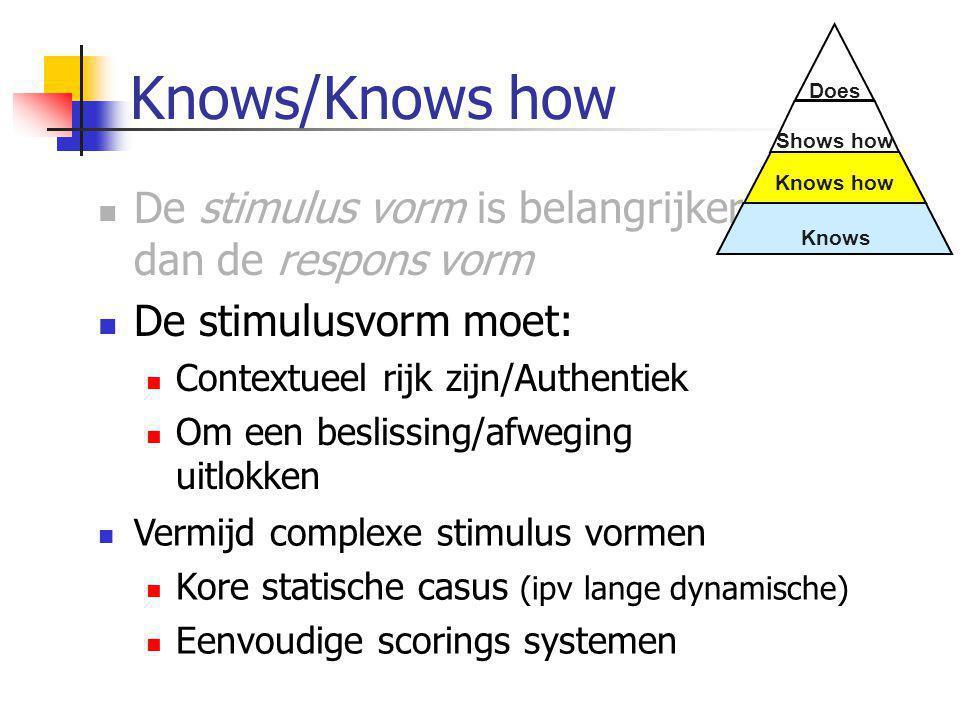 Knows/Knows how  De stimulus vorm is belangrijker dan de respons vorm  De stimulusvorm moet:  Contextueel rijk zijn/Authentiek  Om een beslissing/