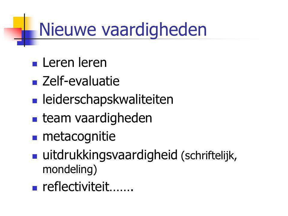 Nieuwe vaardigheden  Leren leren  Zelf-evaluatie  leiderschapskwaliteiten  team vaardigheden  metacognitie  uitdrukkingsvaardigheid (schriftelij