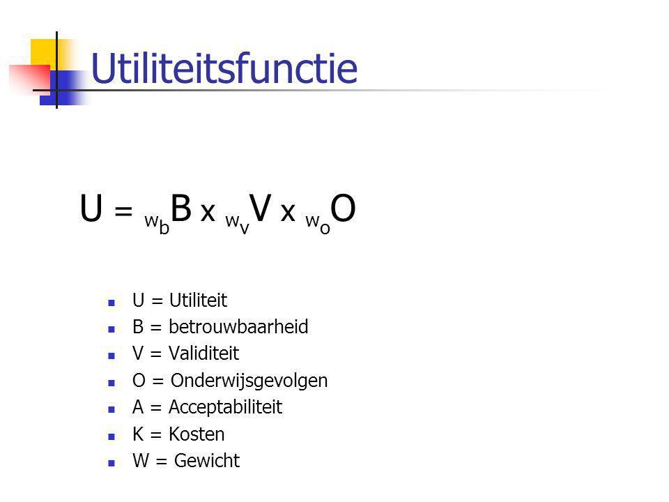 Utiliteitsfunctie  U = Utiliteit  B = betrouwbaarheid  V = Validiteit  O = Onderwijsgevolgen  A = Acceptabiliteit  K = Kosten  W = Gewicht U =