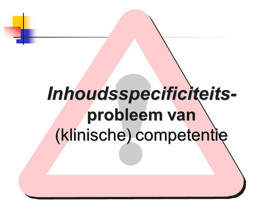 Inhoudsspecificiteits- probleem van (klinische) competentie