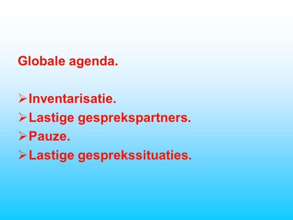 Globale agenda.  Inventarisatie.  Lastige gesprekspartners.  Pauze.  Lastige gesprekssituaties.