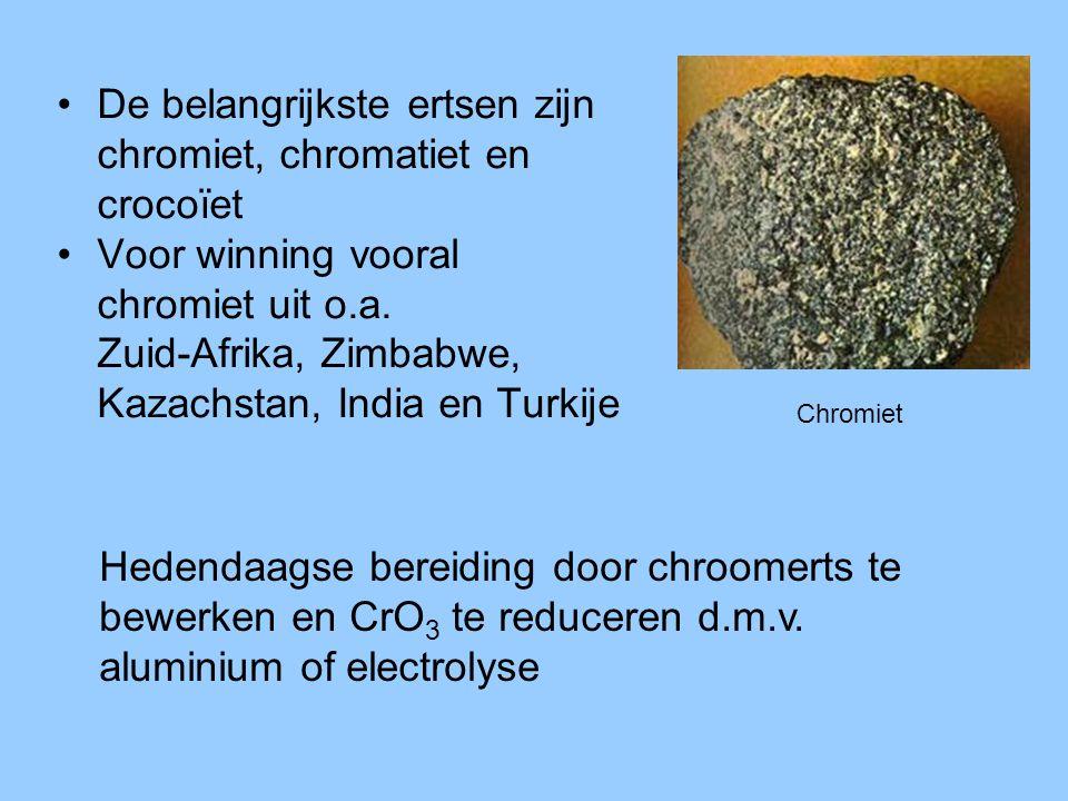 •De belangrijkste ertsen zijn chromiet, chromatiet en crocoïet •Voor winning vooral chromiet uit o.a. Zuid-Afrika, Zimbabwe, Kazachstan, India en Turk