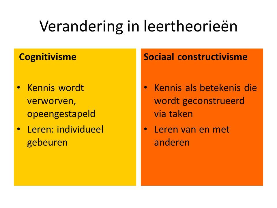 Verandering in leertheorieën Cognitivisme • Kennis wordt verworven, opeengestapeld • Leren: individueel gebeuren Sociaal constructivisme • Kennis als betekenis die wordt geconstrueerd via taken • Leren van en met anderen