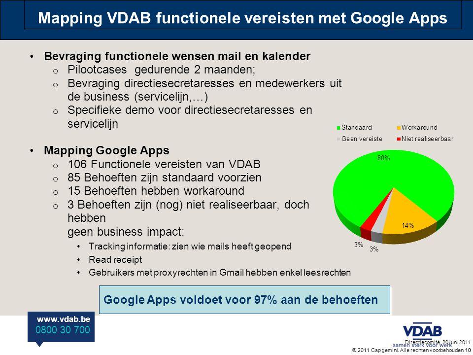 www.vdab.be 0800 30 700 Mapping VDAB functionele vereisten met Google Apps •Bevraging functionele wensen mail en kalender o Pilootcases gedurende 2 ma