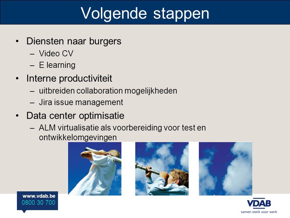 www.vdab.be 0800 30 700 Volgende stappen •Diensten naar burgers –Video CV –E learning •Interne productiviteit –uitbreiden collaboration mogelijkheden