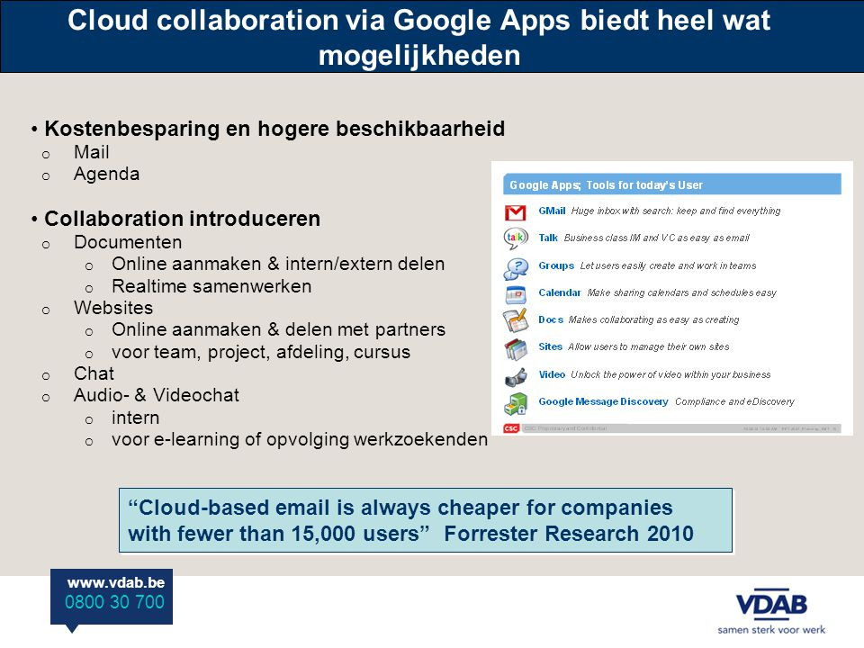 www.vdab.be 0800 30 700 Cloud collaboration via Google Apps biedt heel wat mogelijkheden • Kostenbesparing en hogere beschikbaarheid o Mail o Agenda • Collaboration introduceren o Documenten o Online aanmaken & intern/extern delen o Realtime samenwerken o Websites o Online aanmaken & delen met partners o voor team, project, afdeling, cursus o Chat o Audio- & Videochat o intern o voor e-learning of opvolging werkzoekenden Cloud-based email is always cheaper for companies with fewer than 15,000 users Forrester Research 2010