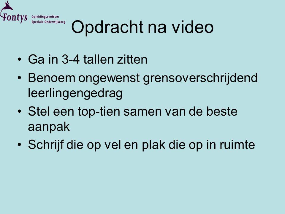 Opdracht na video •Ga in 3-4 tallen zitten •Benoem ongewenst grensoverschrijdend leerlingengedrag •Stel een top-tien samen van de beste aanpak •Schrij