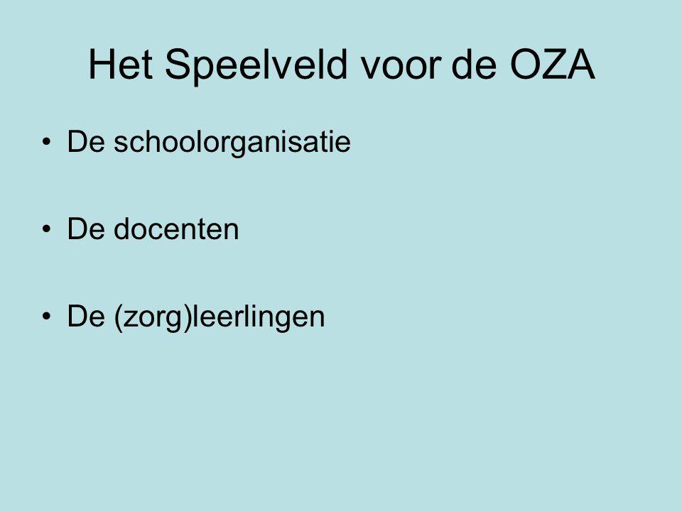 Het Speelveld voor de OZA •De schoolorganisatie •De docenten •De (zorg)leerlingen