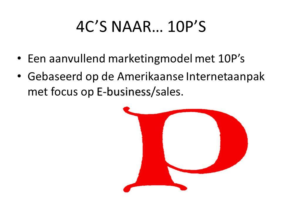 • Een aanvullend marketingmodel met 10P's E-business • Gebaseerd op de Amerikaanse Internetaanpak met focus op E-business/sales. 4C'S NAAR… 10P'S