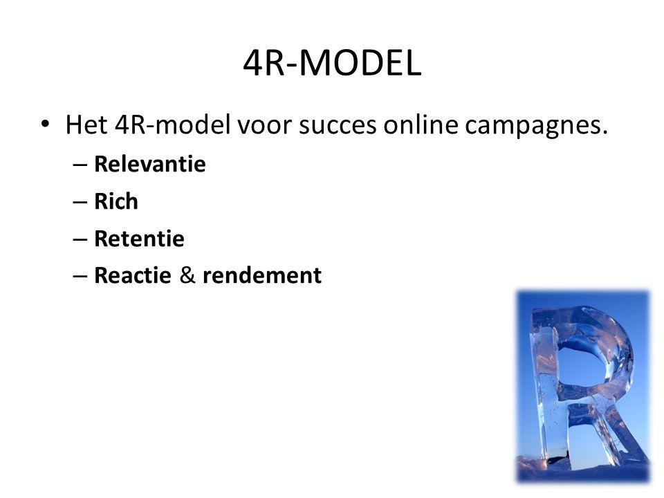 • Het 4R-model voor succes online campagnes. – Relevantie – Rich – Retentie – Reactie & rendement 4R-MODEL