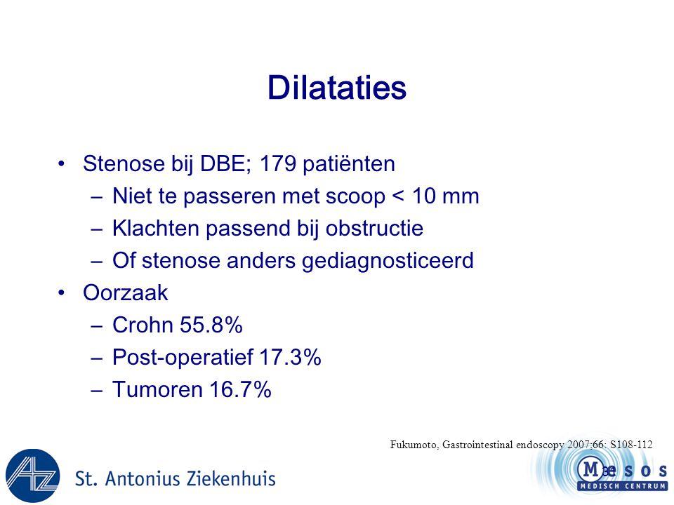 31 Dilataties •Stenose bij DBE; 179 patiënten –Niet te passeren met scoop < 10 mm –Klachten passend bij obstructie –Of stenose anders gediagnosticeerd