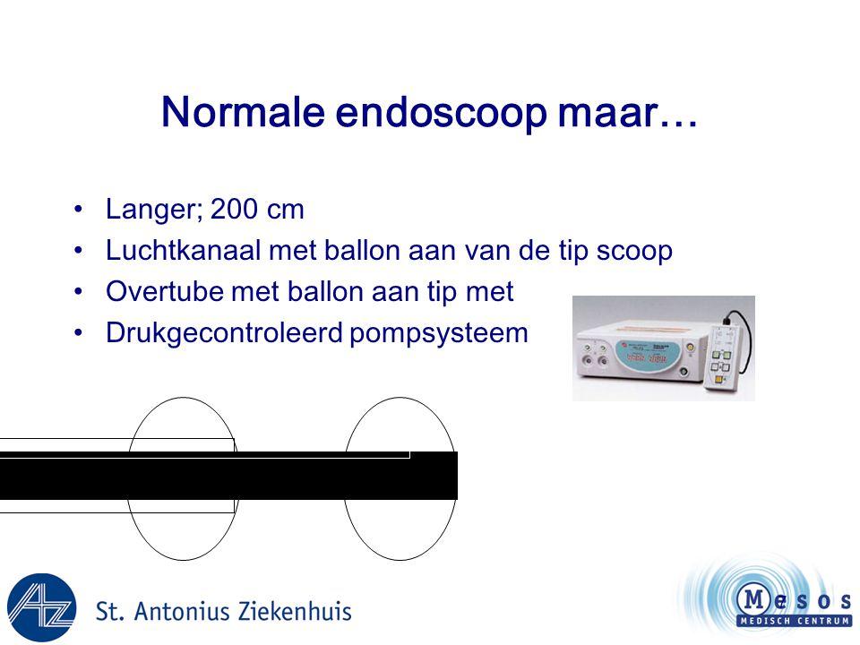8 Normale endoscoop maar… •Langer; 200 cm •Luchtkanaal met ballon aan van de tip scoop •Overtube met ballon aan tip met •Drukgecontroleerd pompsysteem •Fujinon