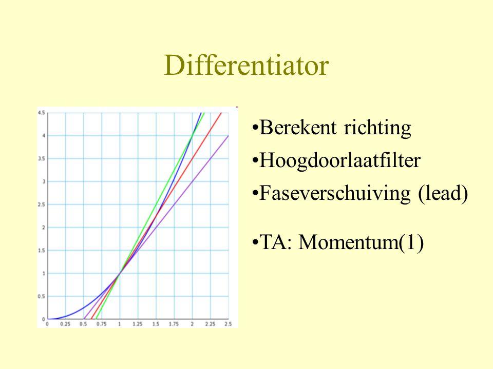Differentiator •Berekent richting •TA: Momentum(1) •Hoogdoorlaatfilter •Faseverschuiving (lead)