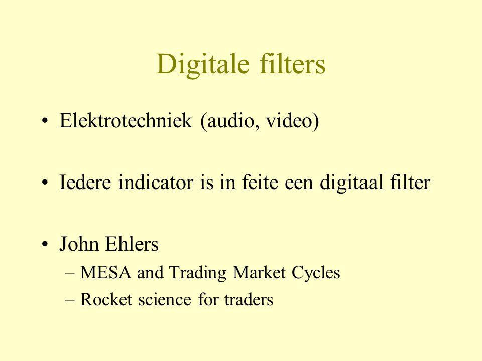 Conclusies •Ehlers digitale filters zijn doordachte en goed onderbouwde indicatoren •Geen kant-en-klare handelssystemen •Vrij complexe techniek, dus niet erg doorzichtig •Bruikbaarheid sterk afhankelijk van de kwaliteit van de golven