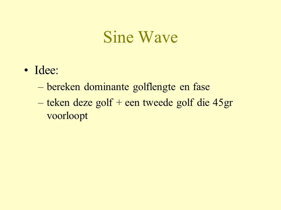 Sine Wave •Idee: –bereken dominante golflengte en fase –teken deze golf + een tweede golf die 45gr voorloopt