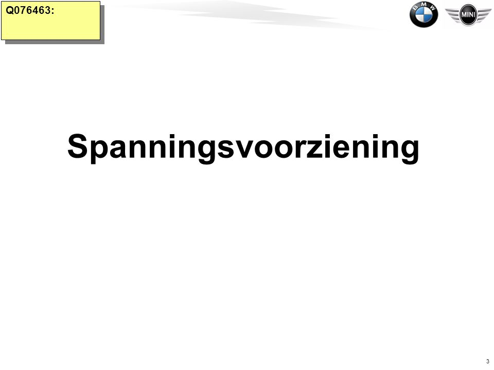 3 BMW Group Belgium Jef Roziers Q076463: Spanningsvoorziening