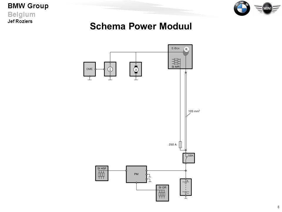 7 BMW Group Belgium Jef Roziers Functies van Powermoduul - optimaal laden - verlagen van piekbelastingen - uitschakelen van standverbruikers - ruststroomcontrole - distributiemode - automatische boordnetloskoppeling - verbruikeruitschakeling - elektronische zekeringen - centrale accuspanningcontrole - achterruitverwarming - interieurverlichting/bodemverlichting - bediening kofferdeksel en tankdopklep - informatiegeheugen - Check Control-meldingen - diagnose