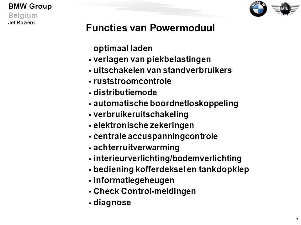7 BMW Group Belgium Jef Roziers Functies van Powermoduul - optimaal laden - verlagen van piekbelastingen - uitschakelen van standverbruikers - ruststr
